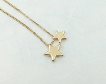 dainty double star necklace in gold,star pendant,star charm,star necklace, star jewelry,bridesmaid,handmade-13075
