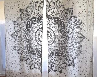 Gold Or Silver Mandala Tapestry Curtains, Boho Curtains, Tapestry Drapes,  Mandala Wall Hanging