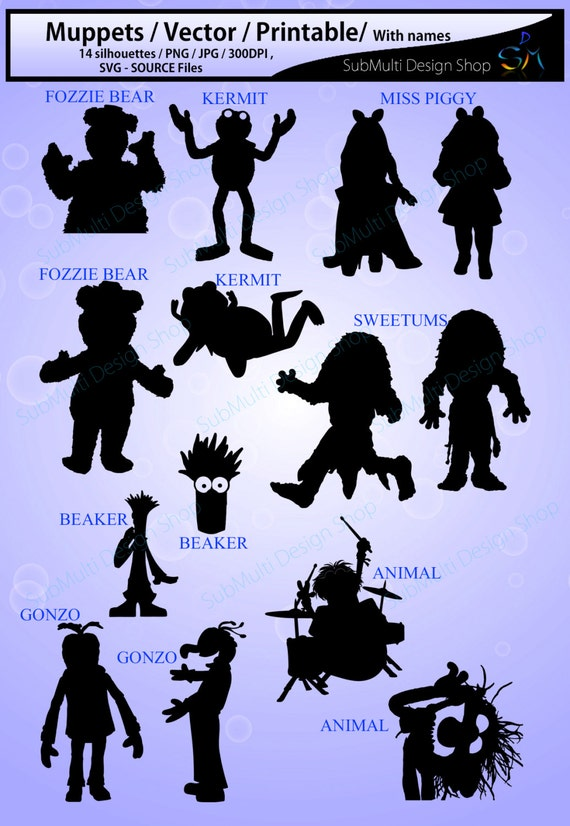 muppets silhouette / Muppets/ muppets clipart / High Quality