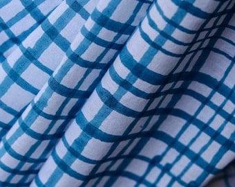 Turquoise and White Checks Print Fabric