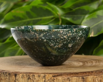 Green Blood Stone Handcarved  76 mm Pure Gem Stone Bowl