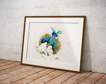 Splash, kingfisher watercolour art print