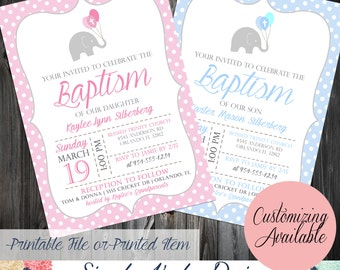 Elephant Baptism Invitation