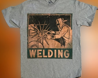 Old Distressed Tin Welding Trade Sign Printed on Ash Grey T Shirt