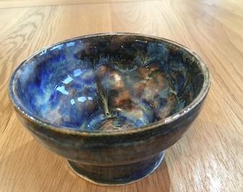 Ceramic Serving Bowl / Pottery Bowl / Handmade Pottery Serving Bowl / Handmade Rustic Serving Bowl / Handmade Ceramic Bowl/ Blue Bowl
