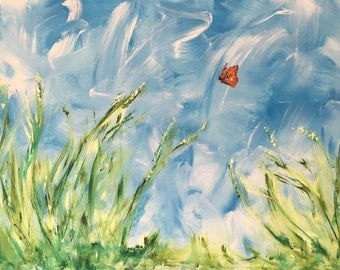 Original Abstract Painting by Lin Cremore / Acrylic Painting 'Lost Butterfly' Sorry Only ships within UK