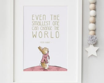 Peter Rabbit Beatrix Potter New Baby/Chid Boy/Girl Nursery Birth Name Quote Print Keepsake Picture Christening Gift