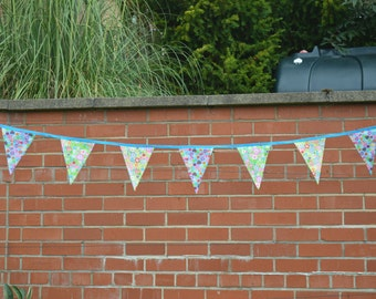 Blue, green and yellow patterned bunting