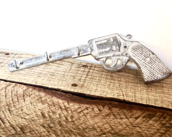 Silver Gun Key Hook - Hunting Decor - Wall Key Holder - Entryway Wall Hooks - Gun Decor - Wall Necklace Holder - Cast Iron Hooks - Gun Hook