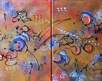 Painting  abstracts dyptique Flight of Butterflies
