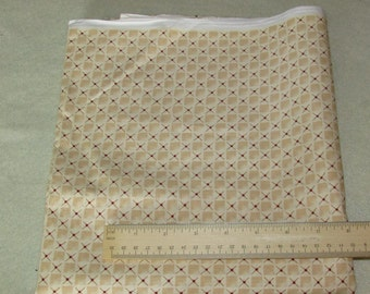 Cream and Brown Check Fabric