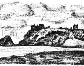 Scottish Castle Wall Art Print, Dunnottar Castle Sketch, Castle Wall Art, Castle Print, Coastal Castle, Scotland Art, Scottish Scene