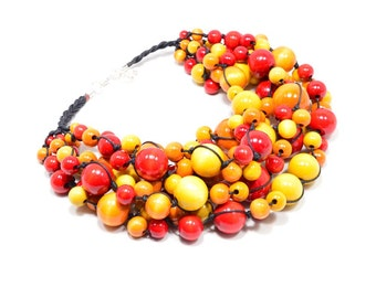 The Fiery necklace wooden beads