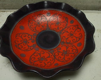 West german pottery wall plate by dumler and breiden