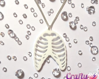 Skeleton bones ribcage acrylic necklace - handmade Halloween gothic jewellery