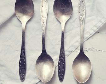 Vintage soviet cutlery - set of four melchior dinner spoons