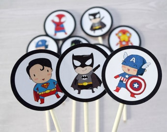 Super hero cupcake toppers, super hero party, super hero birthday, super hero cupcakes, batman cupcake toppers, superman cupcake toppers