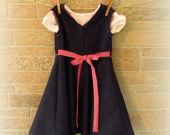 Denim/Jean Dress or Jumper--Girl's Size 2 with Gingham Accents--Modest Dress--FREE SHIPPING!