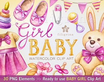 BABY GIRL 30 watercolor Clip Art elements. Plush toys, nursery, clothes, shoes, ribbon tags, dress, nappy, rattle, soother. Read about usage