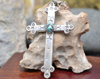 Old Pawn Navajo Cross of Impressive Size hung on European Fillagre and Canetille Ball Stations, Both Solid Silver