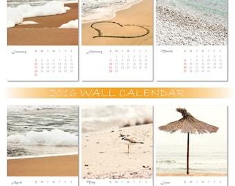 2016 wall calendar,2016 calendar,beach calendar,photography calendar,sea calendar,fine art photography,8 x 12 Inches