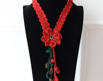 Necklace from décolleté and big, red, handmade necklace, necklace, fashion accessories, fashion accessories, necklaces, elegant glamour chic