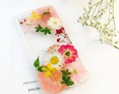 Pressed Flower i Phone 7 Case, Pressed Flower Phone case, Real Flower Phone Case, i Phone Case,Pressed Flower Accessories,Sakura Accessories