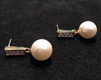 1980's Faux Pearl and Rhinestone Earrings • Delicate and Classic