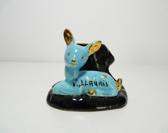 Vintage french Vallauris ceramic candle holder, blue fawn design, made in France, 1960s