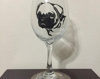Pug Wine Glass or Pilsner Glass