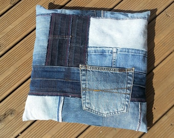Decorative cushions - spelt cushions made of denim patchwork