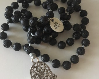 Hand Knotted Black Lava Beaded Necklace with Hamsa