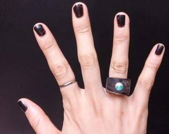 Chansthinks Ebony Gem Wooden Ring