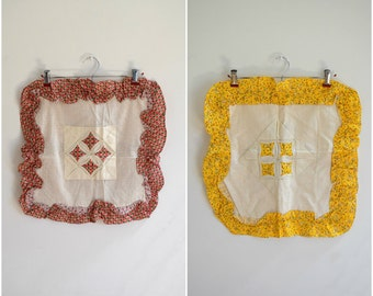 Vintage set of two quilted cottage chic pillowcases / red and yellow square throw pillows with floral patterns / ruffled edges