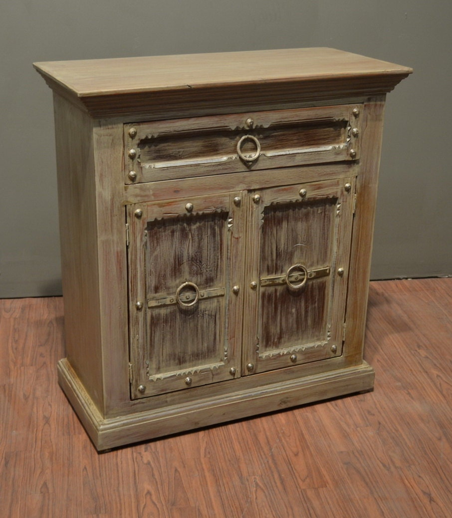 Rustic solid wood door drawer console cabinet curio