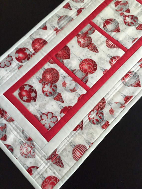 Quilted Christmas Runner Christmas Ornaments Holiday Table