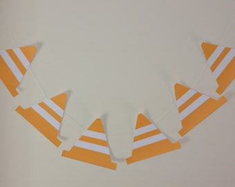 Taffic Cone Bunting, Safety, Roadwork Party, Safety Cone Banner, Construction Cones