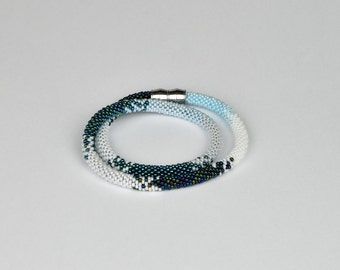 blue symphony - Beaded Bracelet Bead Crochet Bracelet  blue Multi-Colored Colorful Beadwork Jewelry