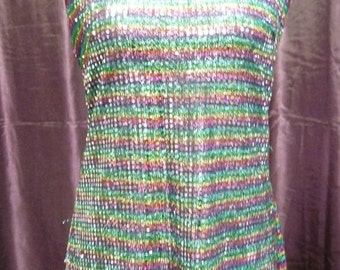Summer Sale 70's Multi Colored Disco Dress + Cap                              (ref564)