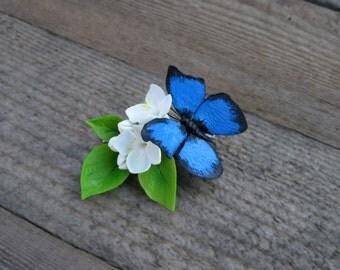 Blue butterfly hair clip Flower hair clip Floral accessory Butterfly clip Butterfly jewelry Floral clip Nature hair clip Woodland accessory