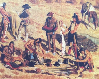 Indian tribe trading with hunters with buffalo hides