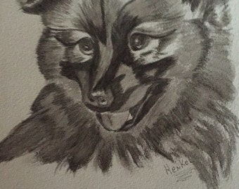 Chow puppy original watercolor artist signed