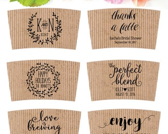 Wedding Coffee Sleeve Stamp - Coffee Wedding Favor - Coffee Cup Sleeve Stamp - Bridesmaid Shower Custom Coffee Favor - Personalized Coffee