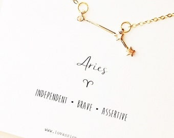 Aries Necklace, aries constellation necklace, gold aries necklace, constellation necklace, astrology sign necklace, zodiac jewelry, 14k