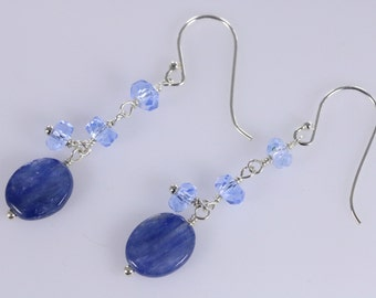 Sale Item-Blue Oval Kyanite Wire Wrapped Sterling Silver Dangle Earrings