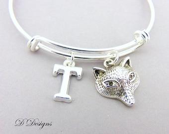 Fox Bangle, Fox Bracelet, Personalised Bangle, Animal Bangle, Personalised Fox Gifts, Fox Jewellery, Fox Gifts