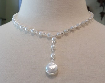 Silver Tone and Faux Pearl Link Pendant Necklace.