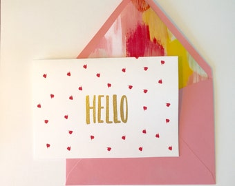 Cute Note Card, Hello Card, Note Card, Greeting Card, Blank Note Card, Cute Blank Note Card, Note Card, Blank Greeting Card