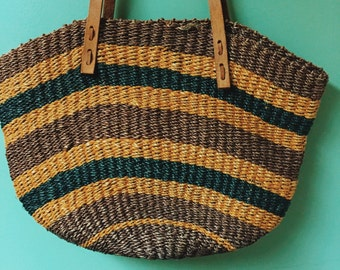 Woven Natural Straw Tote Bag