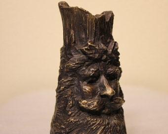 Cast Bronze Santa candle holder